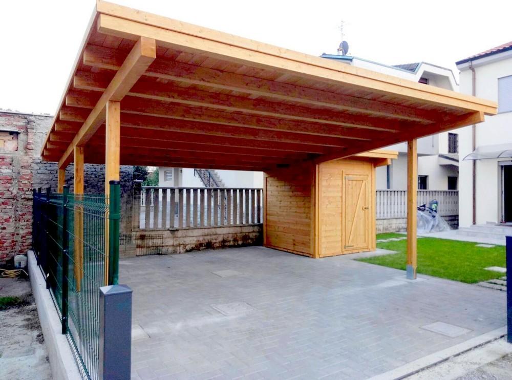 Box e tettoie in legno per auto for Due box auto indipendenti