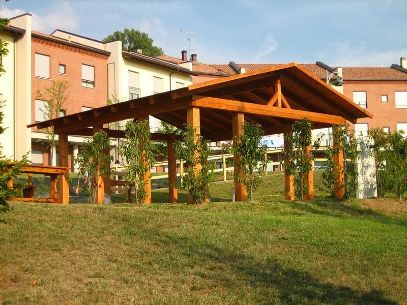 Tettoie in legno falda singola e doppia artecasaservice for Piani a pianta doppia con seminterrato